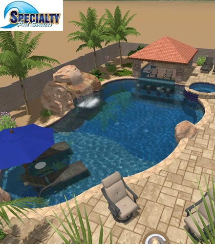 custom pool video gallery 3d rendering examples